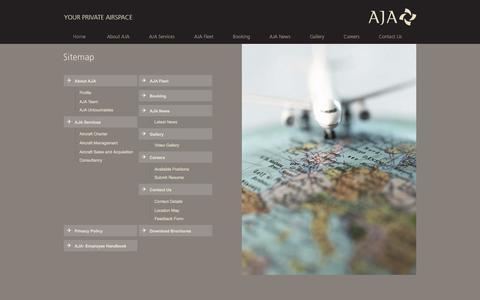 Screenshot of Site Map Page ajaprivatejets.com - AJA | Sitemap - captured July 23, 2016