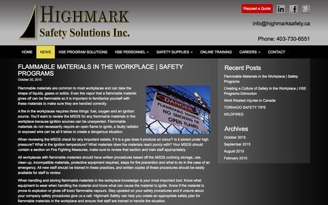 Screenshot of Press Page highmarksafety.ca - News - Highmark Safety - captured Dec. 10, 2015