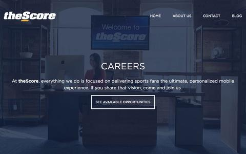 Screenshot of Jobs Page thescore.com - Careers    theScore App: The Ultimate, Personalized Mobile Sports Experience - captured Sept. 17, 2014