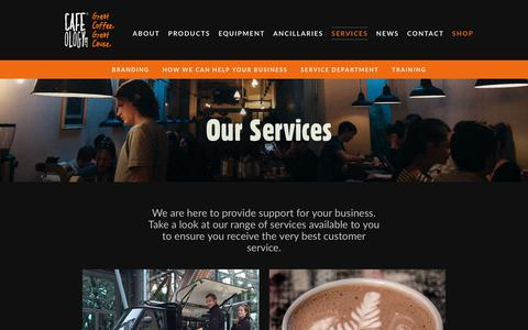 Screenshot of Services Page cafeology.com - Services Archive - Cafeology - captured Sept. 26, 2018