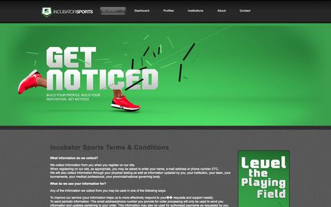 Screenshot of Terms Page incubatorsports.com - Incubator Sports Terms and Conditions - captured Sept. 30, 2014