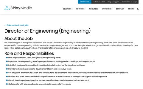 Screenshot of Jobs Page 3playmedia.com - Director of Engineering – 3Play Media - captured Feb. 11, 2019