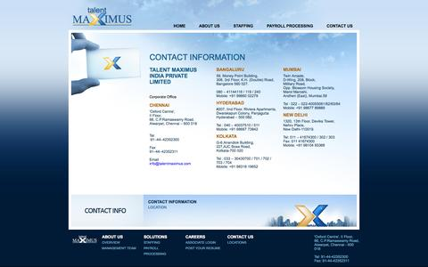 Screenshot of Contact Page Locations Page talentmaximus.com - .:: Talent Maximus - Contacts ::. - captured Oct. 26, 2014