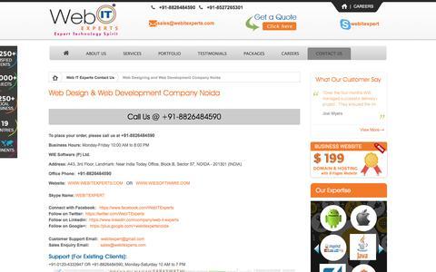 Screenshot of Contact Page webitexperts.com - WIE Software Noida | A Professional Web Design Company India - captured Nov. 30, 2016