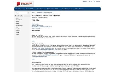 Screenshot of Support Page shop4brand.com - Customer Services for any question regarding shopping for watches, sunglasses, handbags etc Page 1 of 1 - captured April 10, 2017