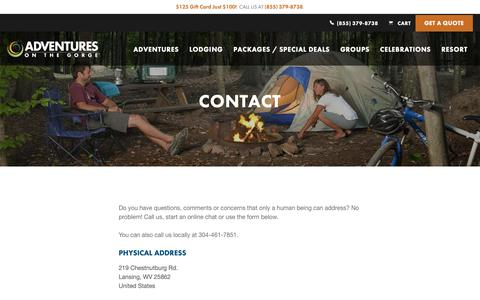 Screenshot of Contact Page adventuresonthegorge.com - Contact | Adventures on the Gorge - captured Dec. 9, 2018