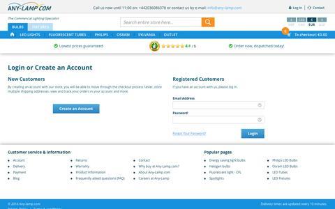 Screenshot of Login Page any-lamp.com - Customer Login  | Any-lamp - captured Sept. 2, 2016