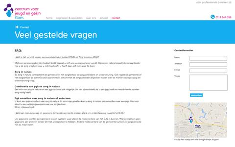 Screenshot of FAQ Page cjggoes.nl - Contactgegevens CJG Goes - captured May 28, 2016