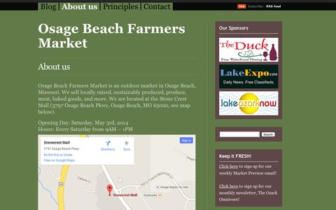 Screenshot of About Page wordpress.com - About us | Osage Beach Farmers Market - captured Sept. 12, 2014