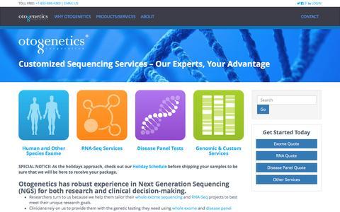Screenshot of Home Page otogenetics.com - Next Gen Sequencing - Whole Exome & RNA - Otogenetics Corporation - captured Nov. 30, 2016