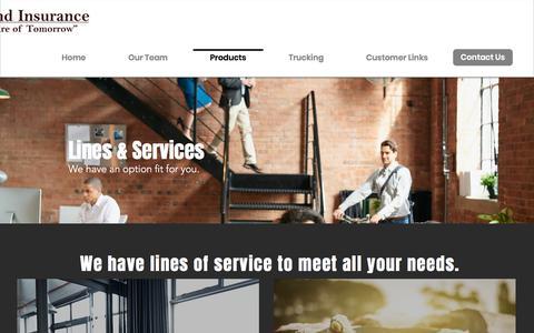 Screenshot of Products Page haymondins.com - Haymond Insurance | Insurance Agency | Arkansas | Products - captured July 4, 2018