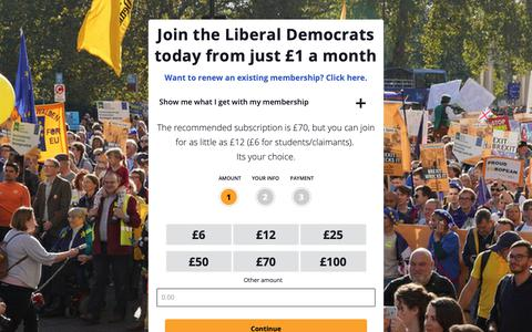 Screenshot of Signup Page libdems.org.uk - Join the Liberal Democrats today from just £1 a month - captured Dec. 1, 2018