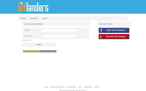 Screenshot of Login Page filmannex.com - bitLanders | Sign up - captured Sept. 18, 2014