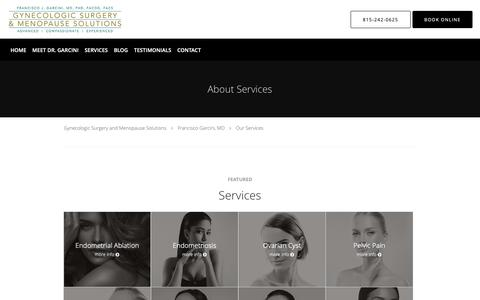 Screenshot of Services Page garcinigyn.com - Services - Francisco Garcini, MD: Obstetrics and Gynecology New Lenox, IL - captured Sept. 30, 2018