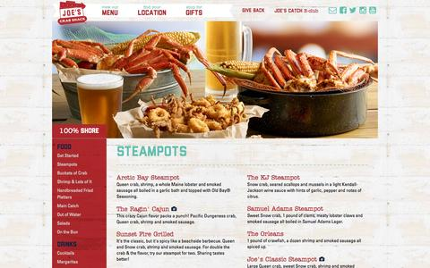 Screenshot of Menu Page joescrabshack.com - Joe's Crab Shack - captured Sept. 23, 2015