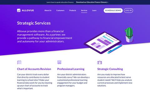 Screenshot of Services Page allovue.com - Strategic Services / Allovue - captured July 13, 2018