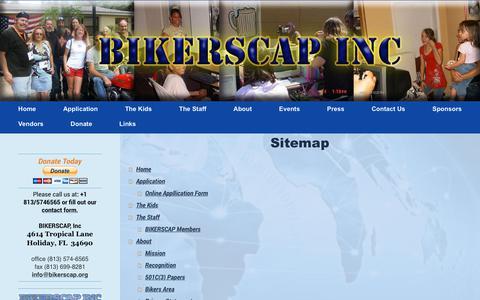 Screenshot of Site Map Page bikerscap.org - BIKERSCAP Inc. - Home - captured Oct. 10, 2017
