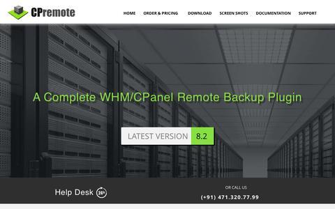 Screenshot of Home Page cpremote.net - cPremote : cPanel/WHM remote/local  rsync  incremental backup plugin with 7 days retention - captured Nov. 18, 2015