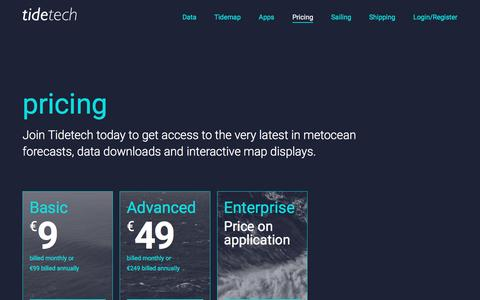 Screenshot of Pricing Page tidetech.org - Tidetech Pricing and Subscriptions | Tidetech - captured Dec. 6, 2016