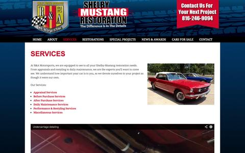 Screenshot of Services Page r-amotorsports.com - SERVICES - R&A Motorsports - captured Oct. 6, 2014