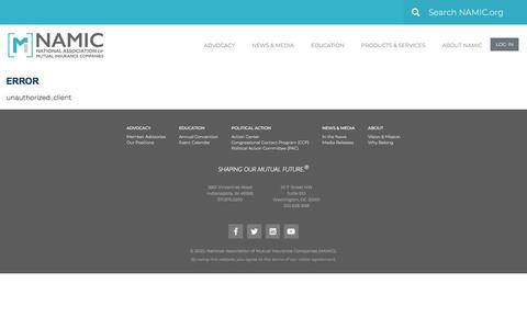 Screenshot of Login Page namic.org - Error - Namic - captured Jan. 11, 2020