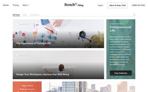 Screenshot of Blog bench.co - The Bench Blog — A Briefing for Modern Entrepreneurs - captured Feb. 13, 2017