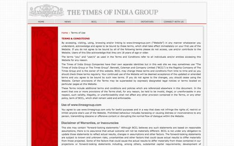 Screenshot of Terms Page timesgroup.com - Terms of Use - captured Sept. 22, 2014