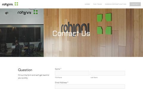 Screenshot of Contact Page rohinni.com - Contact — Rohinni - captured July 8, 2016
