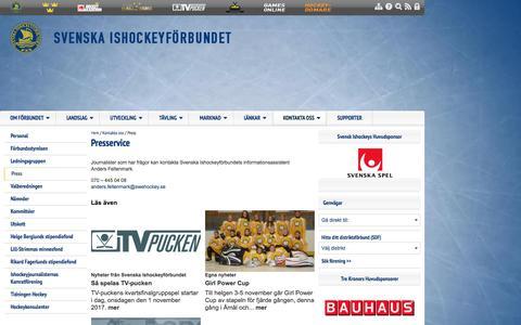 Screenshot of Press Page swehockey.se - Press - Svenska Ishockeyförbundet - captured Nov. 2, 2017