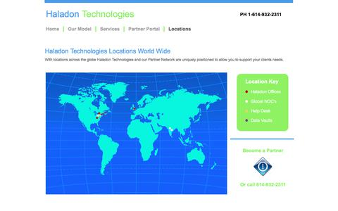 Screenshot of Locations Page haladontechnologies.com - Locations - captured July 13, 2017