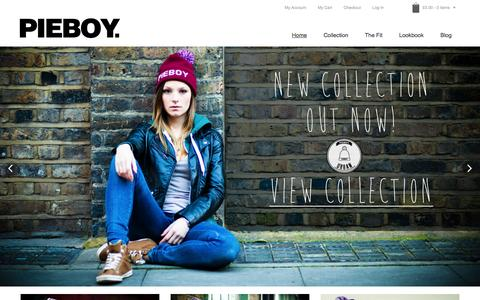 Screenshot of Home Page pieboyclothing.co.uk - PIEBOY Clothing | Home - captured Jan. 19, 2015
