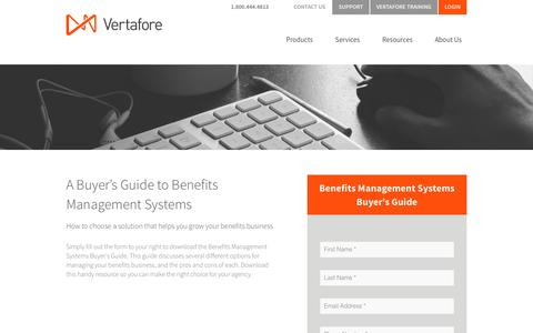 Screenshot of Landing Page vertafore.com - Benefits Management Systems Buyer's Guide - captured Aug. 20, 2016