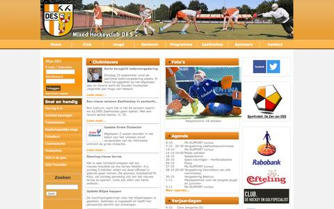 Screenshot of Home Page hockeydes.nl - Mixed Hockeyclub D.E.S. - Clubnieuws - captured Oct. 3, 2014