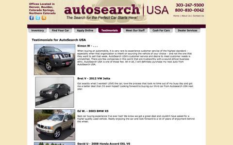 Screenshot of Testimonials Page findtheperfectcar.com - Testimonials at AutoSearch USA, Denver, CO, 303-247-9300 - captured Oct. 4, 2014