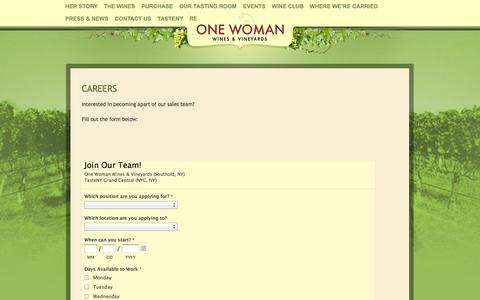 Screenshot of Jobs Page onewomanwines.com - Careers  | One Woman Wines and Vineyards - captured Oct. 7, 2014