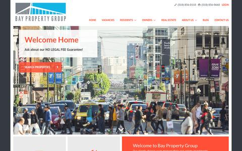 Screenshot of Home Page baypropertygroup.com - Bay Property Group | Property Management Throughout the Bay Area - captured Sept. 28, 2018