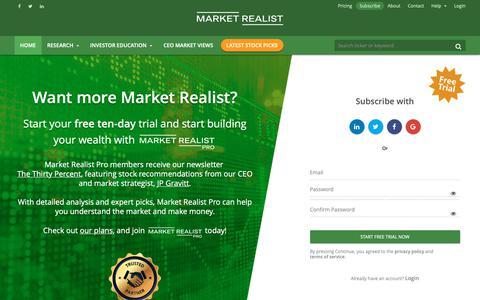 Screenshot of Signup Page marketrealist.com - Market Realist - captured Nov. 2, 2018