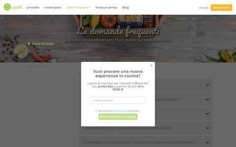 Screenshot of FAQ Page quomi.it - Le domande frequenti sul servizio| Quomi - captured July 24, 2018
