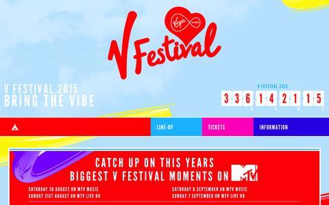 Screenshot of Home Page vfestival.com - Home - captured Sept. 19, 2014