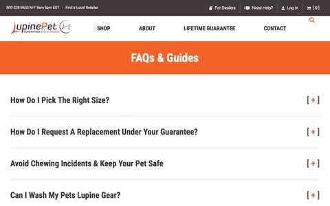 Screenshot of FAQ Page lupinepet.com - FAQ's & Guides, Sizing, Washing, Returns - Lupine Pet - captured Sept. 22, 2018