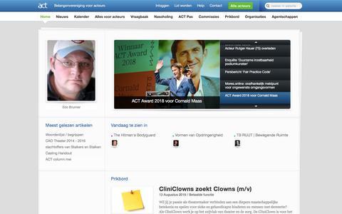 Screenshot of Home Page acteursbelangen.nl - ACT | Belangenorganisatie voor acteurs - captured Aug. 19, 2019
