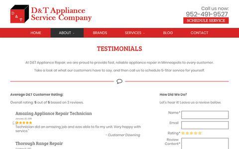 Screenshot of Testimonials Page dtappliance.com - Appliance Repair Minneapolis Reviews | D&T Appliance Service Company - captured Oct. 7, 2018