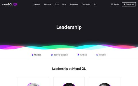 Screenshot of Team Page memsql.com - MemSQL Leadership - Meet Founders, Executive Management and Advisors - captured Aug. 14, 2019