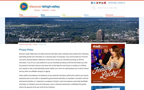 Screenshot of Privacy Page discoverlehighvalley.com - Privacy Policy | Allentown, Bethlehem, Easton, Pa | Discover Lehigh Valley - captured Sept. 23, 2014