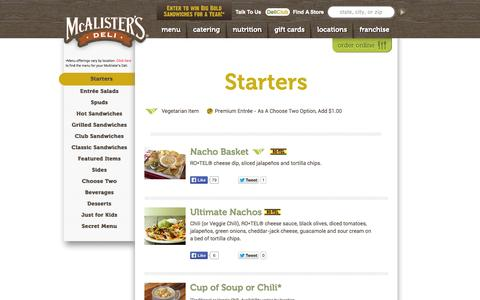 Screenshot of Menu Page mcalistersdeli.com - Starters | Menu | McAlister's Deli - captured Oct. 27, 2014
