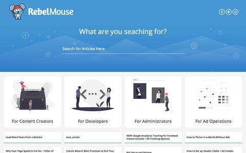 Screenshot of Support Page rebelmouse.com - RebelMouse Support - captured Aug. 27, 2019
