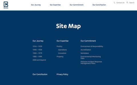 Screenshot of Site Map Page baiada.com.au captured Oct. 9, 2017
