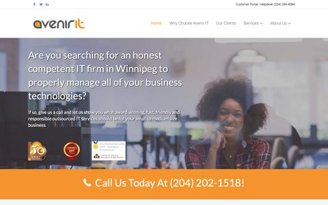Screenshot of Home Page avenirit.com - Home — #1 IT Support & Services Company in Winnipeg | Avenir IT Inc. - captured Oct. 4, 2018