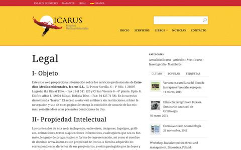 Screenshot of Terms Page icarus.es - Legal - captured Oct. 2, 2014