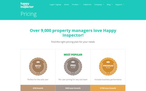 Screenshot of Pricing Page happyinspector.com - Pricing | Happy Inspector - captured July 19, 2014